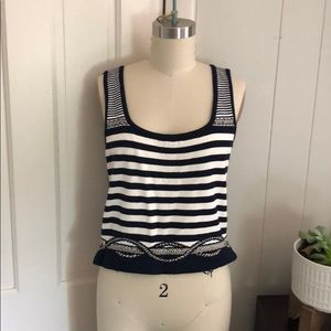 St. John collection navy stripe nautical tank